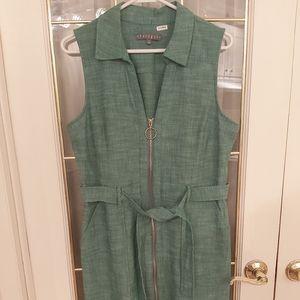 Green Sharagano Collared Dress